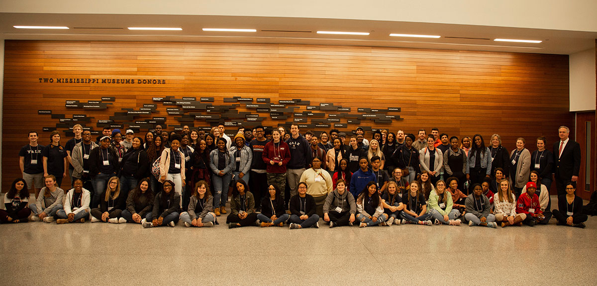 Global Teaching Project students, faculty, and tutors, at the Mississippi Civil Rights Museum, January 2020.